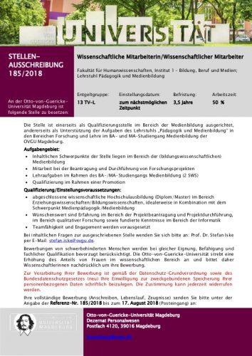 Stellenausschreibung: Medienbildung, WiMi, 50%, 3,5 Jahre, Otto-Guericke-Universität Magdeburg