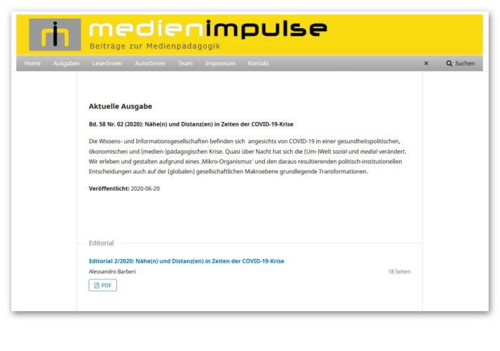 """Neue Ausgabe MEDIENIMPULSE 2/2020: """"Nähe(n) und Distanz(en) in Zeiten der COVID-19-Krise"""""""