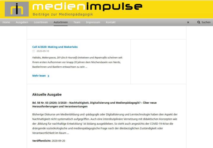 Die jüngste Ausgabe der MEDIENIMPULSE 03/2020 zu >Nachhaltigkeit, Digitalisierung und Medienpädagogik< ging soeben online! https://www.medienimpulse.at/
