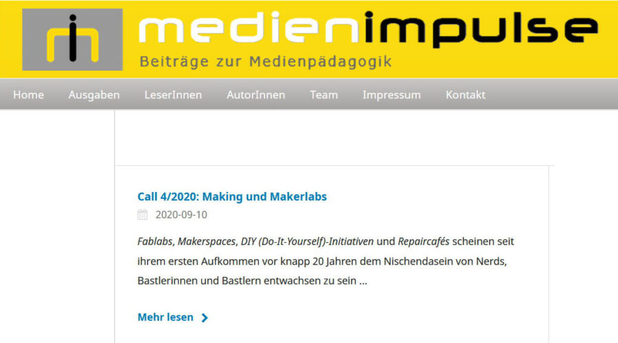 MEDIENIMPULSE Call 4/2020: Making und Makerlabs