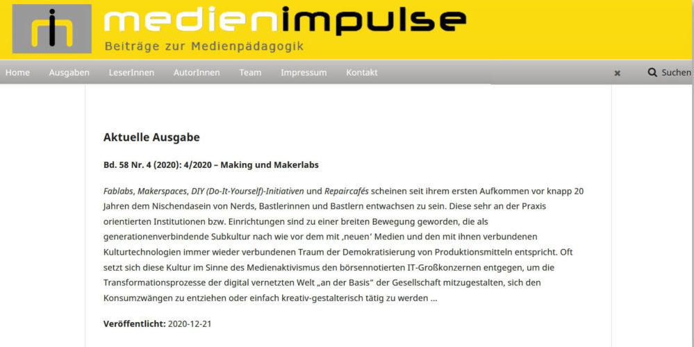 Die jüngste Ausgabe der MEDIENIMPULSE 04/2020 zu >Making und Makerlabs< ging soeben online! https://www.medienimpulse.at/