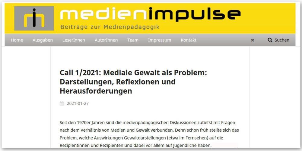 Call MEDIENIMPULSE 1/2021