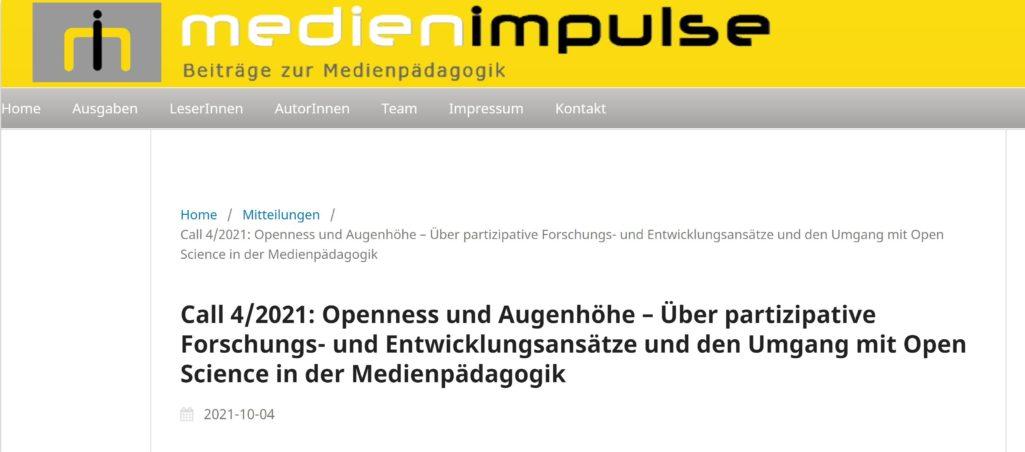 MEDIENIMPULSE Call 4/2021: Openness und Augenhöhe – Über partizipative Forschungs- und Entwicklungsansätze und den Umgang mit Open Science in der Medienpädagogik